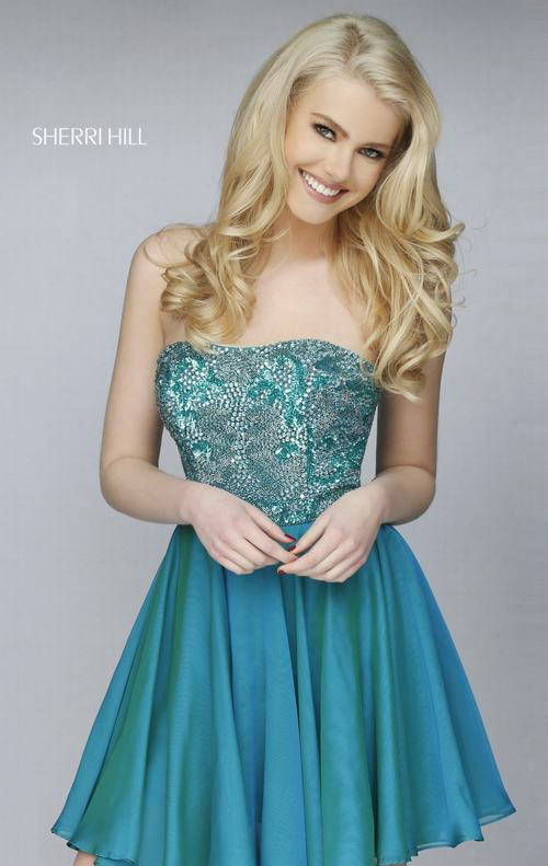 Sherri Hill 1954 Peacock Short Sweet 16 Party Dress