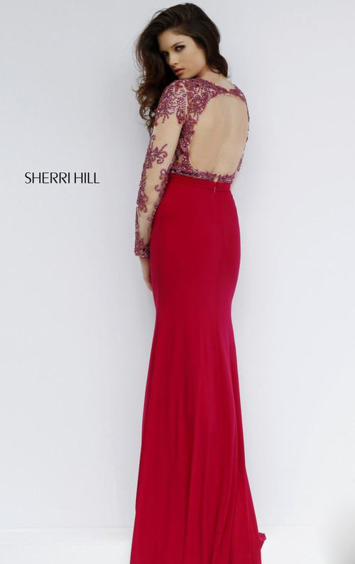 Sherri Hill 1960 open back beads homecoming dress red_1