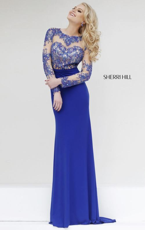 Sherri Hill 1960 sexy 2015 homecoming dress royal long
