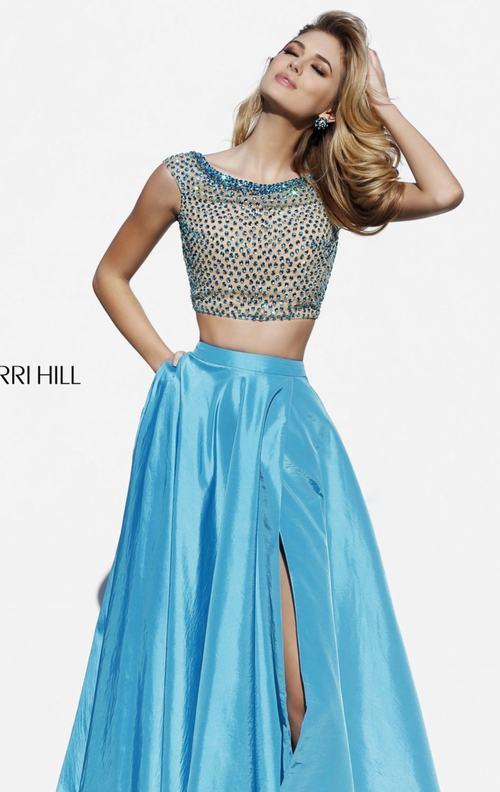 Sherri Hill 32274 turquoise beads long prom dress 2015