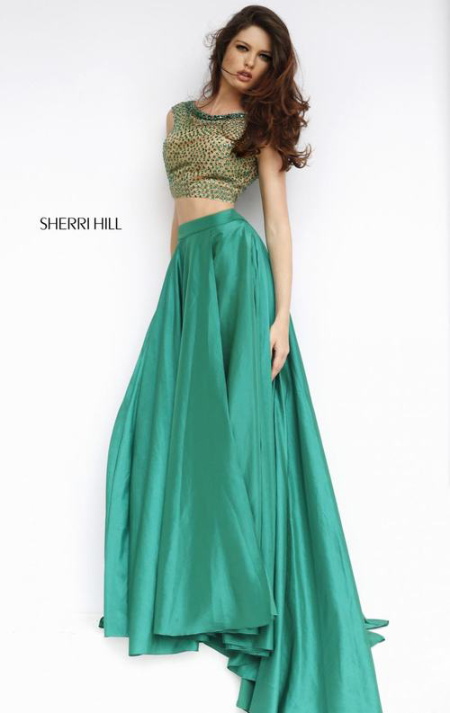 Sherri Hill 32274 two piece evening dress 2015 emerald