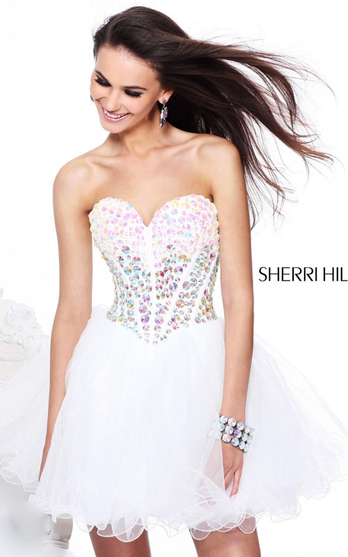 2014 white sherri hill 21101 short homecoming dress