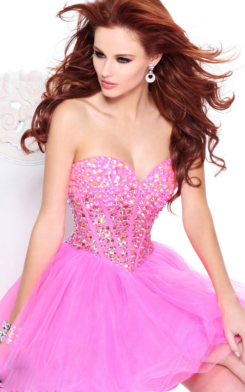 a-line pink sherri hill 21101 homecoming dress 2014
