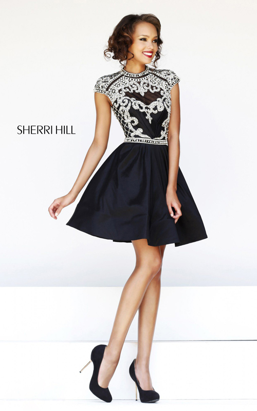 backless sherri hill 4300 black beads homecoming dress