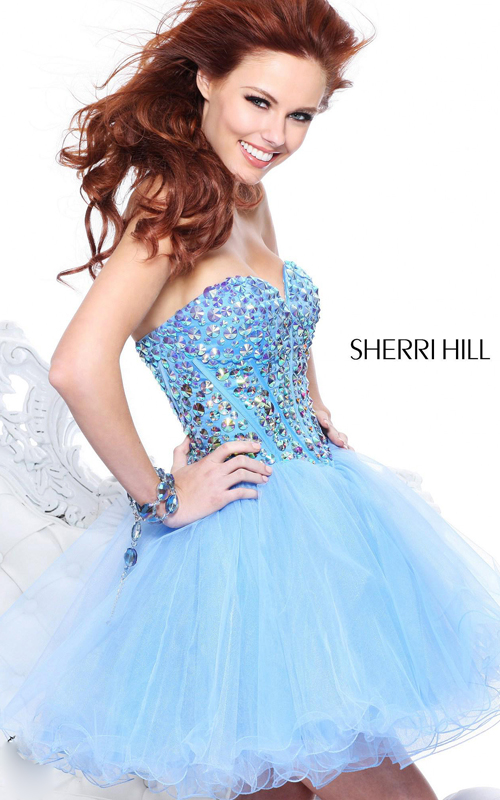 blue sequins homecoming dress by sherri hill 21101