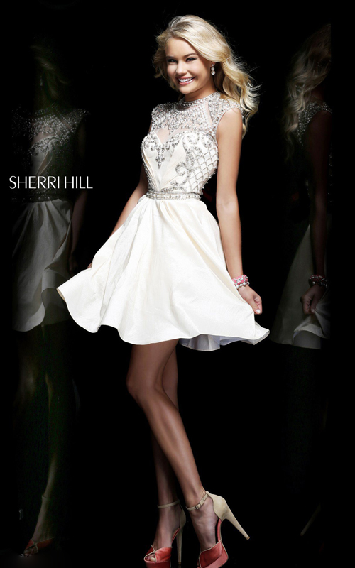 classic a-line white homecoming dress sherri hill 4300