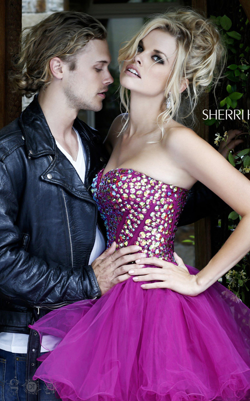 hot pink sherri hill 21101 homecoming dress short