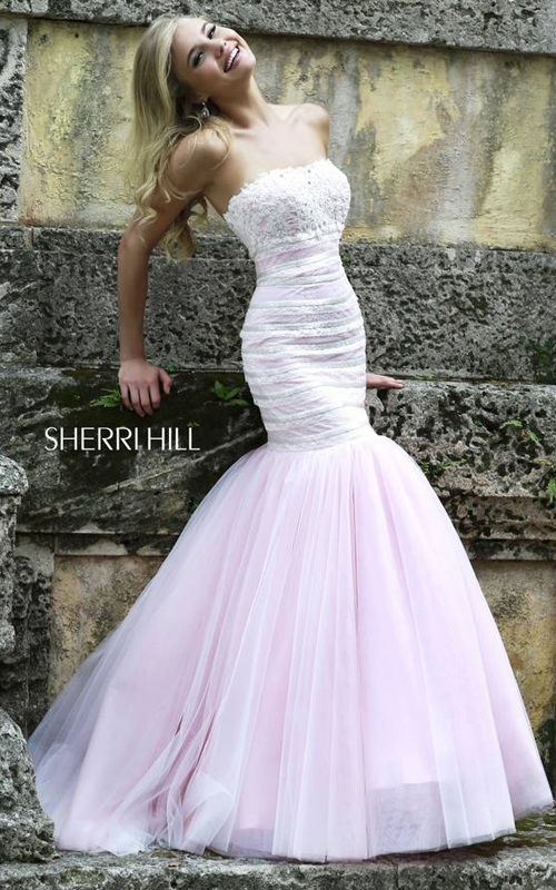 Lace Sherri Hill 11154 White Pink Tulle Party Dress
