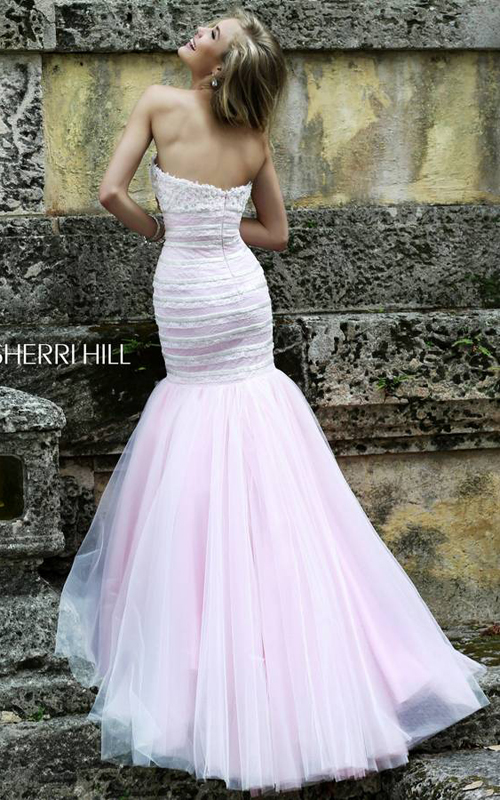 Lace Sherri Hill 11154 White Pink Tulle Party Dress_1