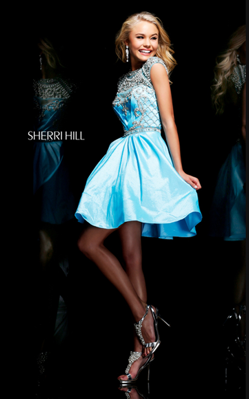 light blue sherri hill 4300 beads cocktail dress short