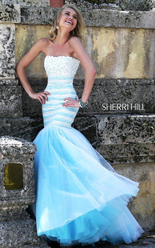 Mermaid Sherri Hill 11154 White Blue Prom Dress 2016