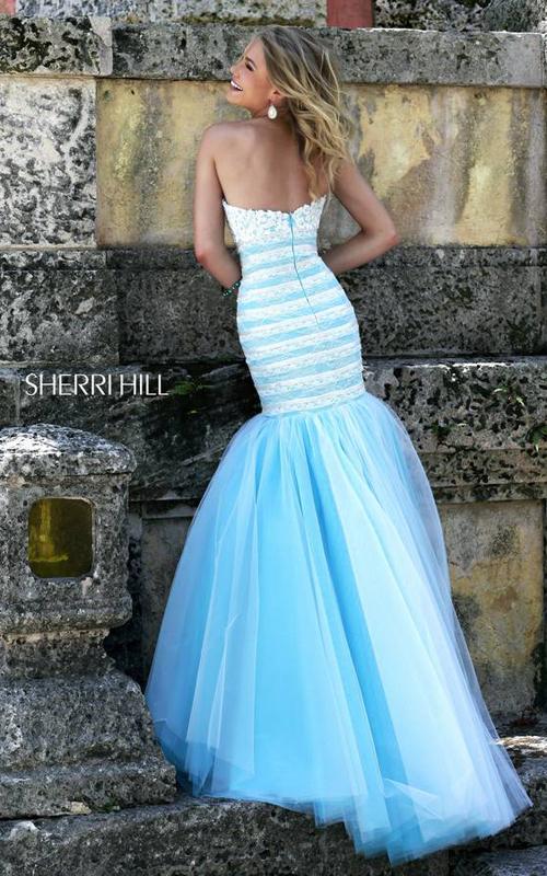 Mermaid Sherri Hill 11154 White Blue Prom Dress 2016_1