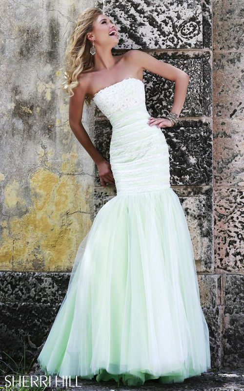 Sherri Hill 11154 Strapless Mermaid Lace Prom Gown Green