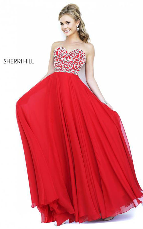 Sherri Hill 8555 Red Sweetheart Evening Dress