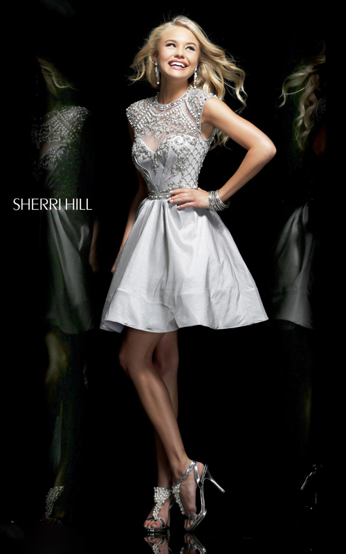 silver sherri hill 4300 beads dress for 2014 homecoming