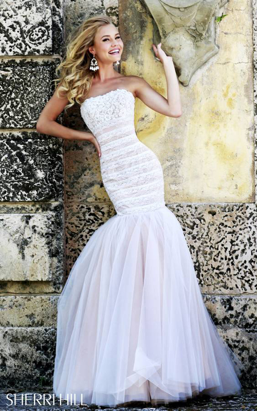 Strapless Sherri Hill 11154 Mermaid Prom Dress White Nude