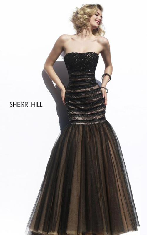 Tulle Sherri Hill 11154 Black Nude Evening Dress Lace