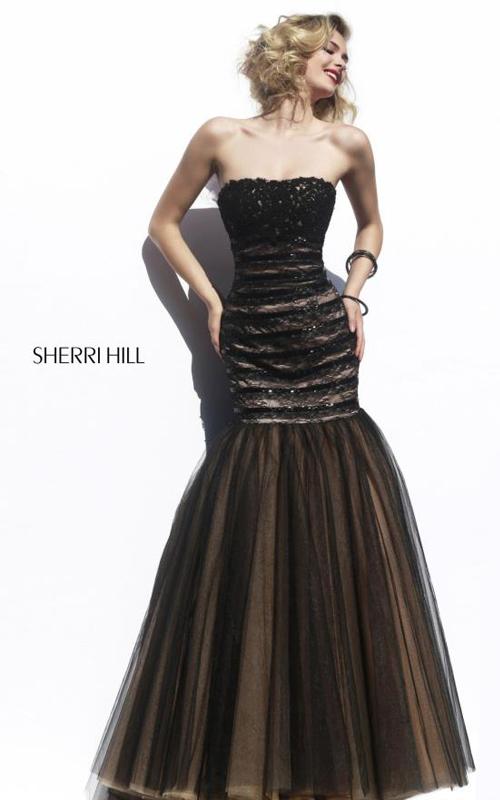Tulle Sherri Hill 11154 Black Nude Evening Dress Lace
