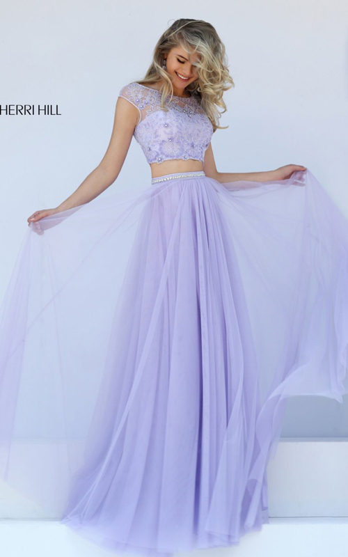 2016 Sherri Hill 50038 lilac two piece prom dress beads