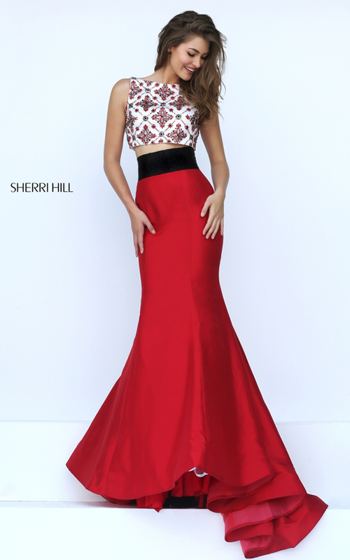 beads Sherri Hill 50109 long mermaid prom dress red