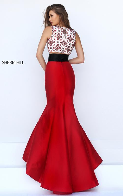 beads Sherri Hill 50109 long mermaid prom dress red_1