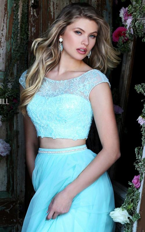 blue Sherri Hill 50038 two piece sexy prom dress 2016_1