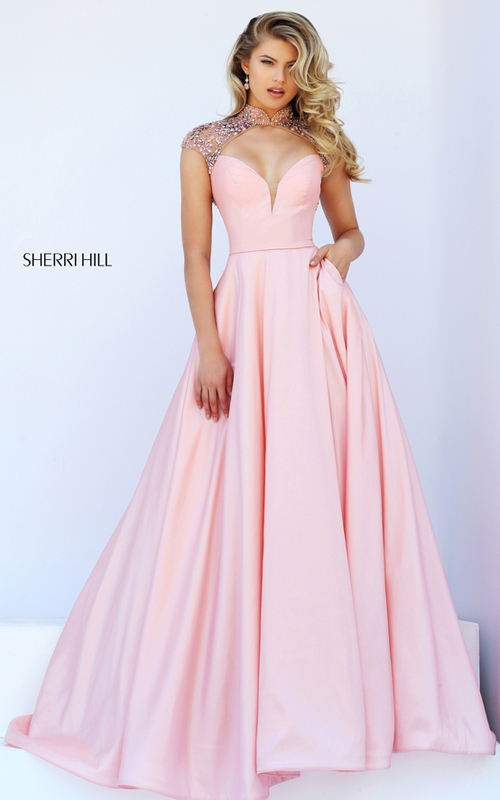 cap sleeves Sherri Hill 50004 pink beads sexy dress
