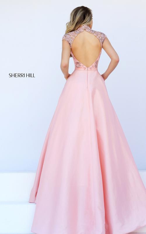 cap sleeves Sherri Hill 50004 pink beads sexy dress_1