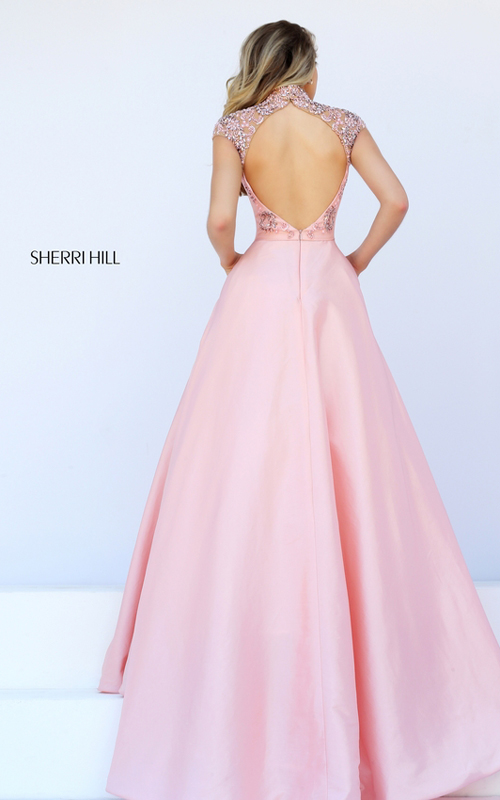 cap sleeves Sherri Hill 50004 pink beads sexy dress_1