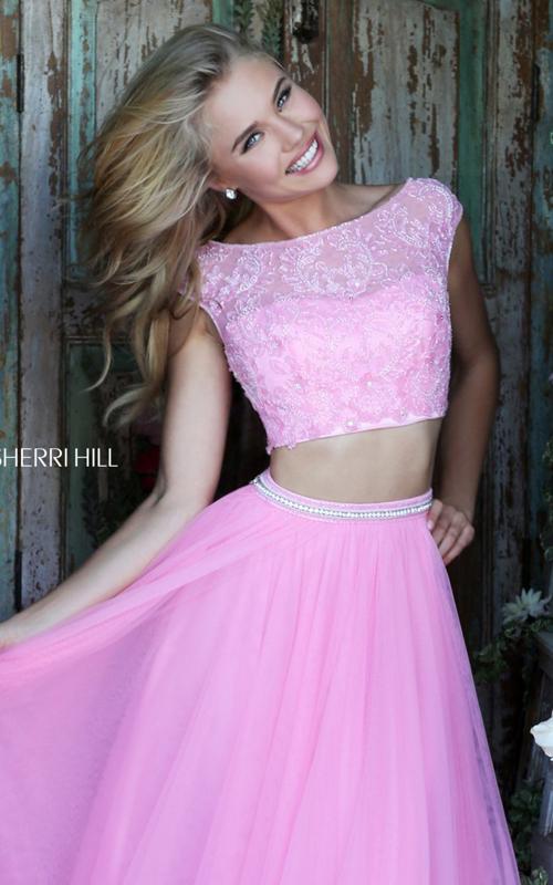chiffon Sherri Hill 50038 two piece pink princess dress