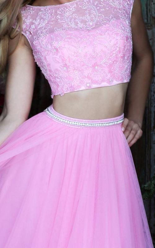 chiffon Sherri Hill 50038 two piece pink princess dress_1