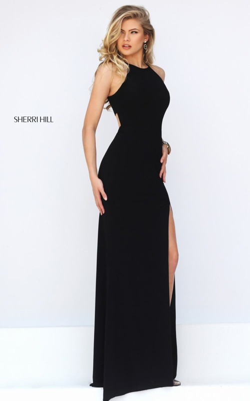 cutout Sherri Hill 32340 black elegant prom gown sexy