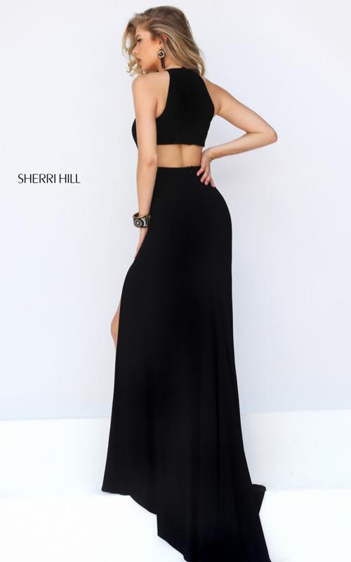 cutout Sherri Hill 32340 black elegant prom gown sexy_1