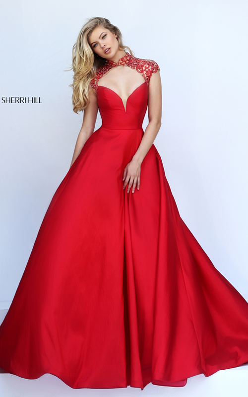 cutout Sherri Hill 50004 red open back pagegant dress