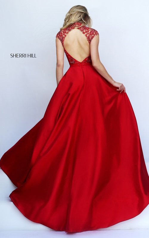 cutout Sherri Hill 50004 red open back pagegant dress_1