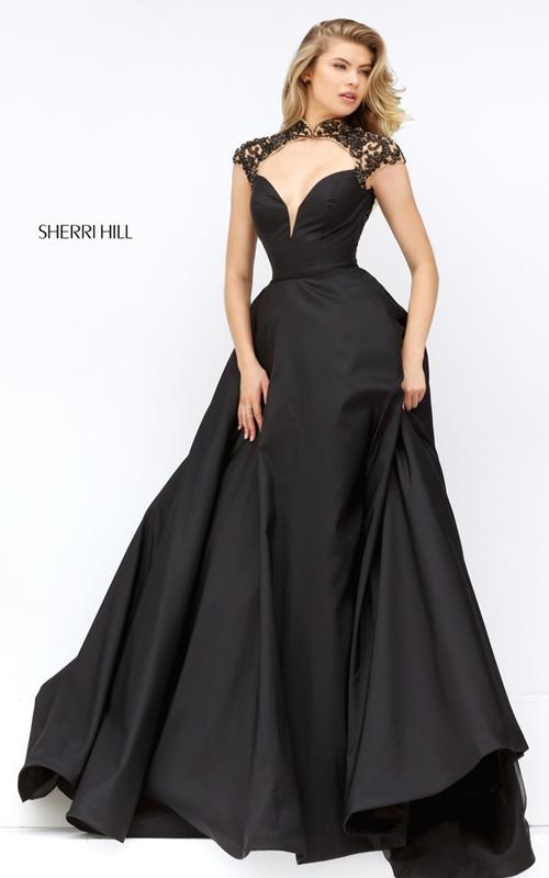 elegance Sherri Hill 50004 black open back prom dress