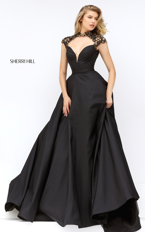 elegance Sherri Hill 50004 black open back prom dress