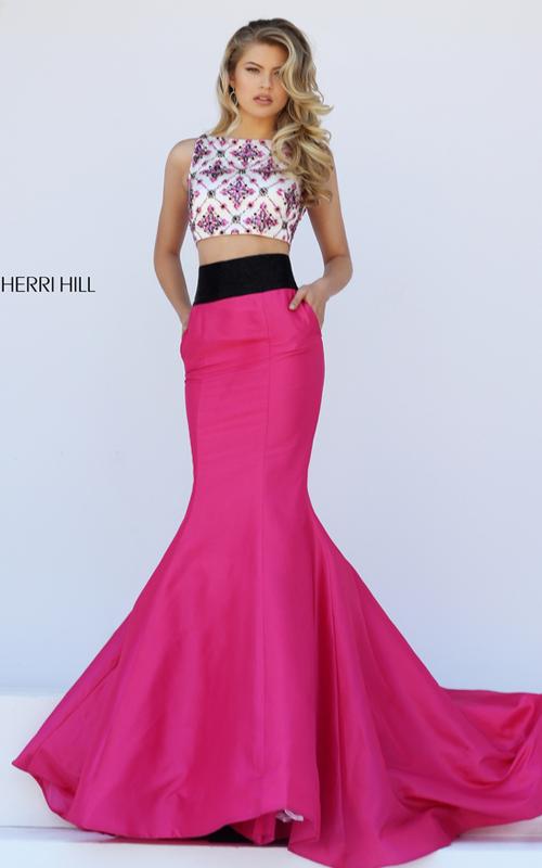 fuchasia Sherri Hill 50109 two piece full mermaid skirt