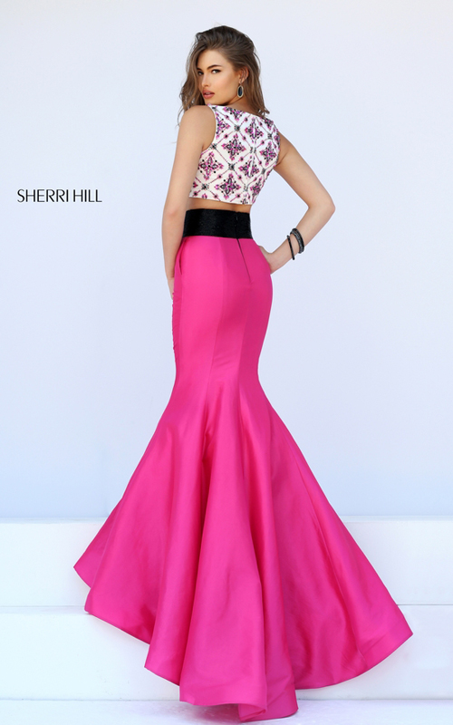 fuchasia Sherri Hill 50109 two piece full mermaid skirt_1