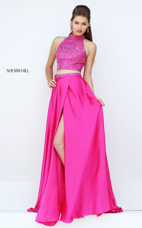 fuchsia Sherri Hill 11330 two piece beads prom dress