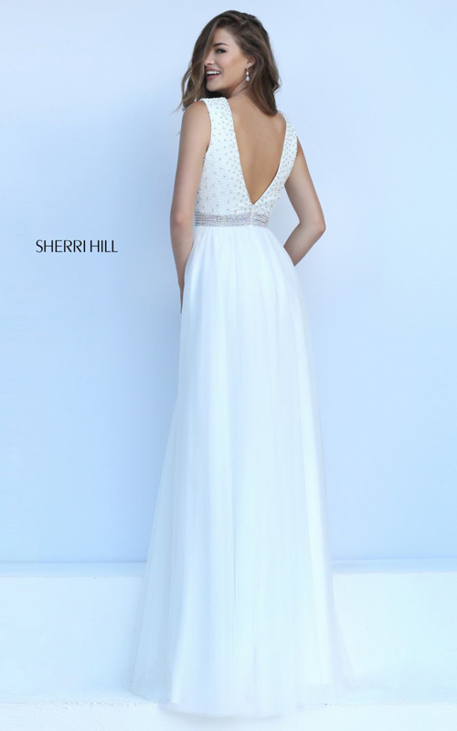 ivory Sherri Hill 50029 Plunging v neck pageant dress_1