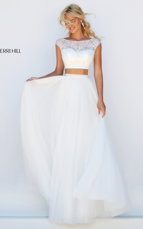 ivory Sherri Hill 50038 beads chiffon 2016 girl prom dress