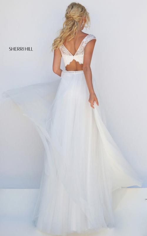 ivory Sherri Hill 50038 beads chiffon 2016 girl prom dress_1