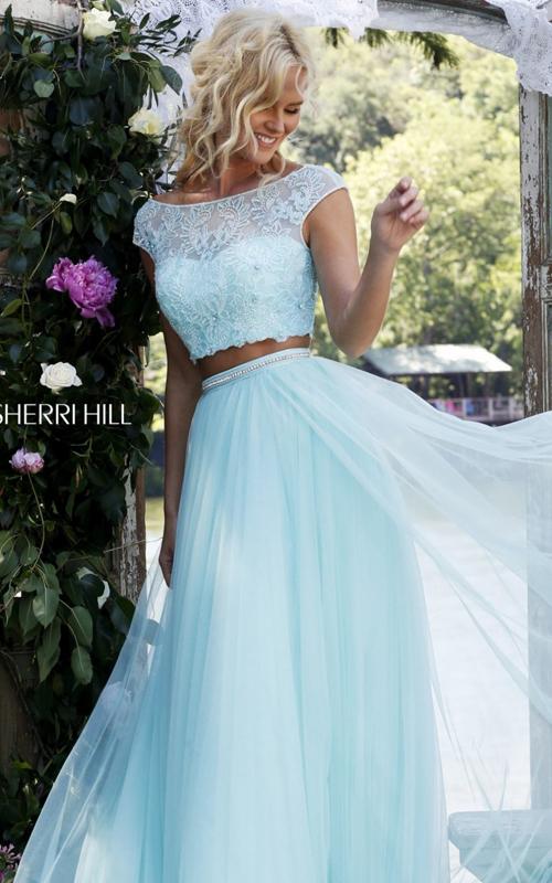 light blue Sherri Hill 50038 two piece pageant dress 2016