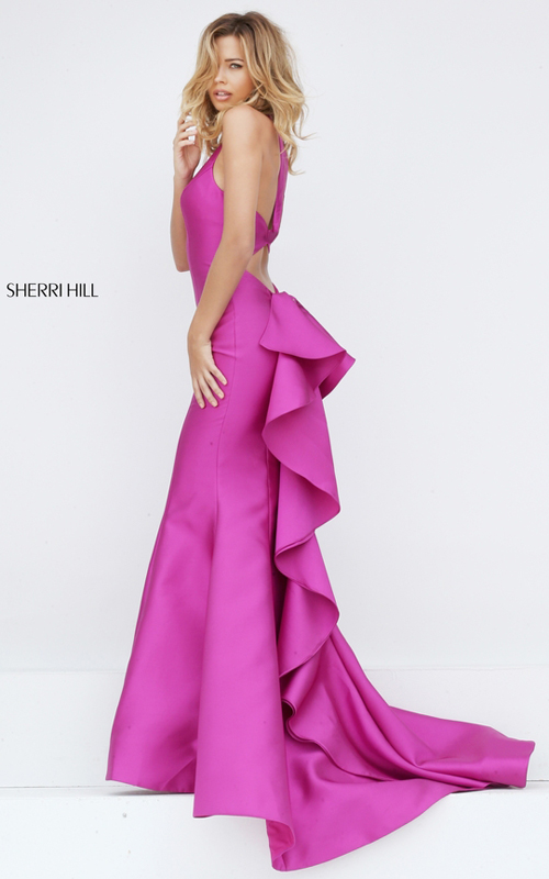 magenta Sherri Hill 50195 satin ruffled prom dress