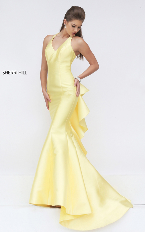 mermaid ruffled prom dress 2016 yellow Sherri Hill 50195