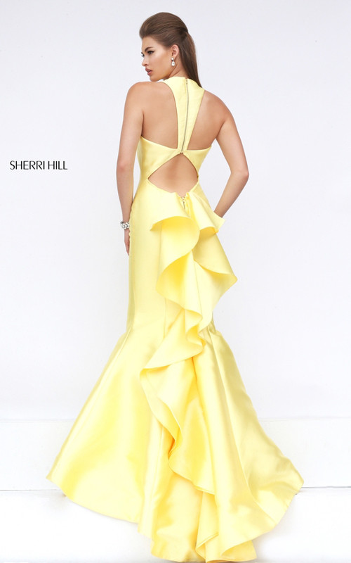 mermaid ruffled prom dress 2016 yellow Sherri Hill 50195_1