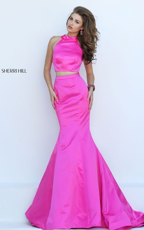 mermaid two piece gown fuchsia Sherri Hill 32365