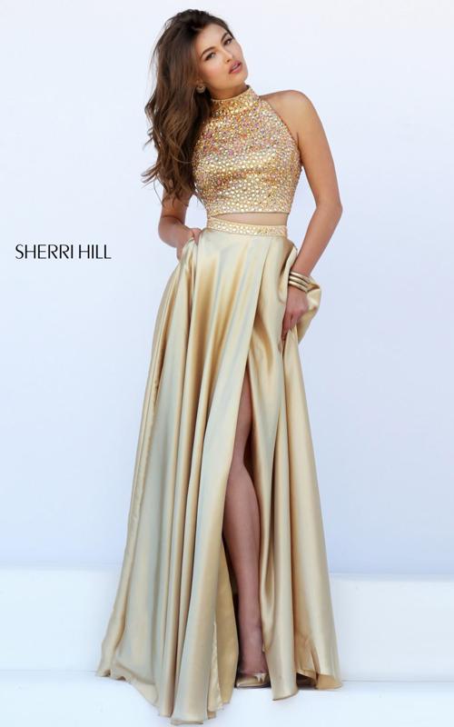 Sherri Hill 11330 nude beads two piece evening dress