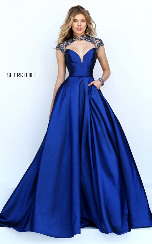 Sherri Hill 50004 navy open back sexy prom dress 2016